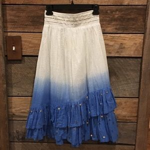 White & blue sequined hombre skirt Justice size 12